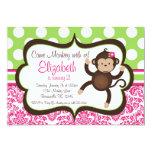 "Pink Damask Mod Monkey Girl Birthday Party Invite 5"" X 7"" Invitation Card"