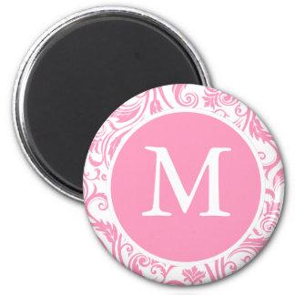 Pink Damask Monogram 2 Inch Round Magnet