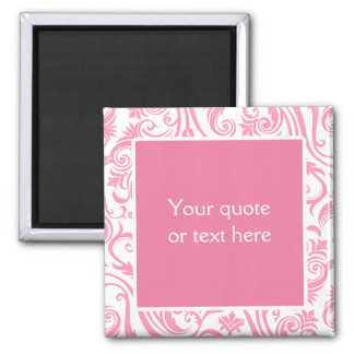 Pink Damask Monogram 2 Inch Square Magnet