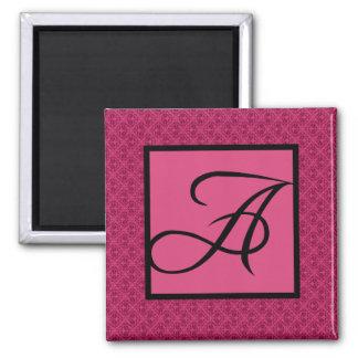 Pink Damask Monogram A 2 Inch Square Magnet