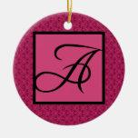Pink Damask Monogram A Ornaments