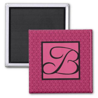 Pink Damask Monogram B 2 Inch Square Magnet