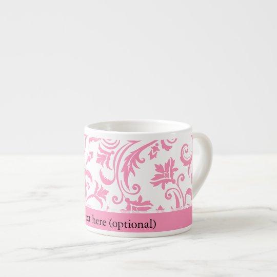 Pink Damask Monogram Espresso Cup