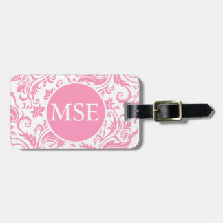Pink Damask Monogram Luggage Tag