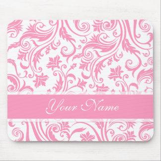 Pink Damask Monogram Mouse Pad