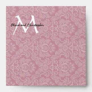 Pink Damask Monogram Square Envelopes