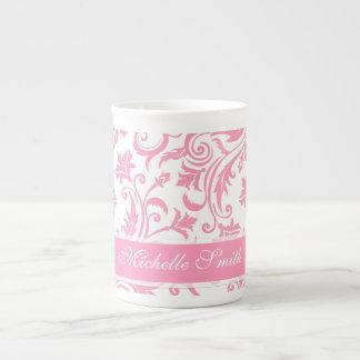 Pink Damask Monogram Tea Cup