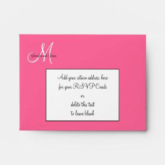 Pink Damask Monogram Wedding RSVP Envelopes