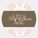 Pink Damask monogram wedding stickers