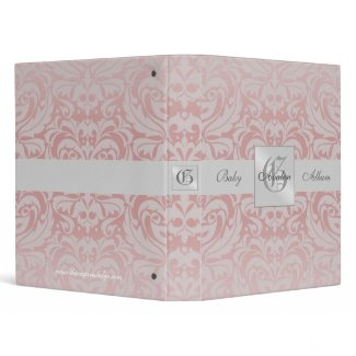 Pink Damask Monogrammed Baby Album Binder binder
