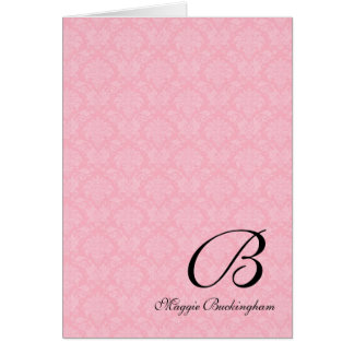 Pink Damask Monogrammed Deluxe Card