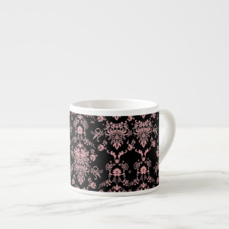 Pink Damask on Black Espresso Cup