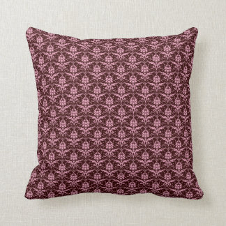 Pink Damask on Chocolate Brown Throw Pillow
