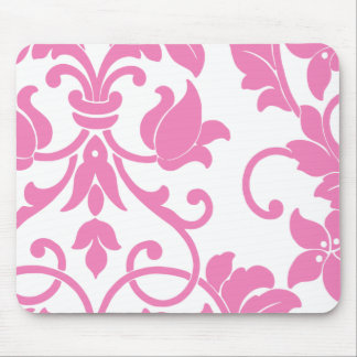 Pink Damask on White Mouse Pads