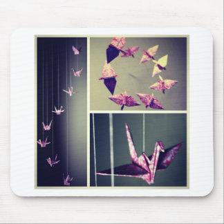 Pink damask origami crane spiral mobile mouse pad