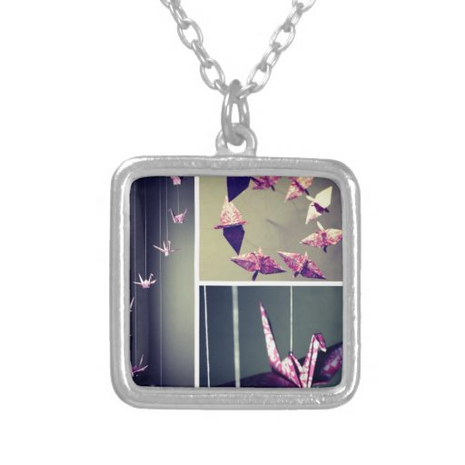 Pink damask origami crane spiral mobile personalized necklace