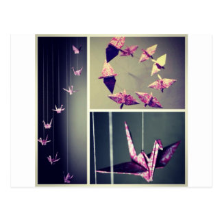 Pink damask origami crane spiral mobile postcard