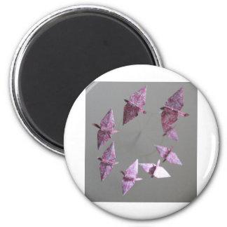 Pink Damask Origami Spiral Mobile Magnet