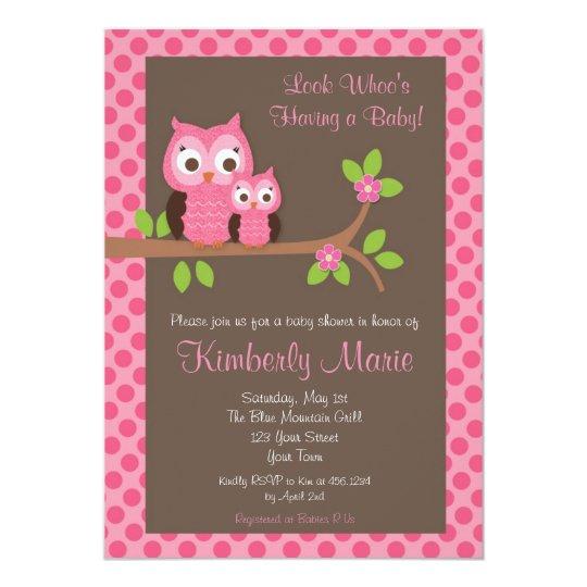 pink damask owl baby shower invitation zazzle