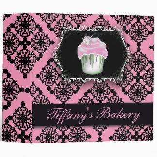 pink damask pastry chef baker bakery cupcake 3 ring binder