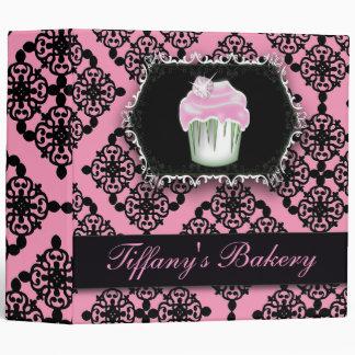 pink damask pastry chef baker bakery cupcake binder