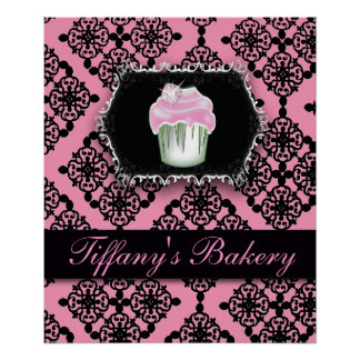 pink damask pastry chef baker bakery cupcake poster