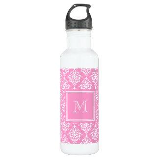 Pink Damask Pattern 1 with Monogram 24oz Water Bottle