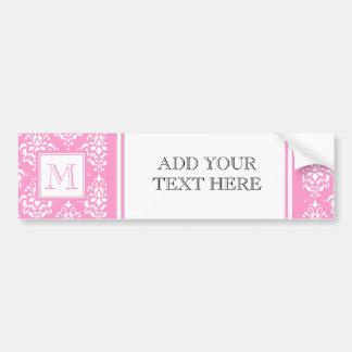 Pink Damask Pattern 1 with Monogram Bumper Stickers