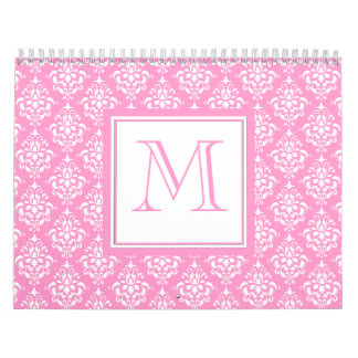Pink Damask Pattern 1 with Monogram Wall Calendar