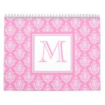 Pink Damask Pattern 1 with Monogram Calendar
