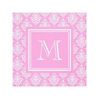 Pink Damask Pattern 1 with Monogram Canvas Print