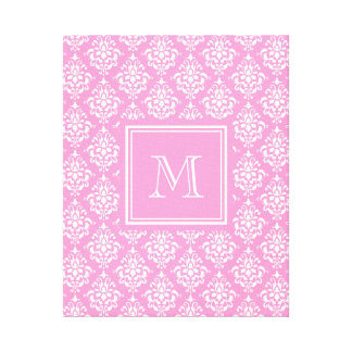 Pink Damask Pattern 1 with Monogram Stretched Canvas Prints