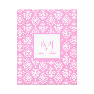 Pink Damask Pattern 1 with Monogram Gallery Wrap Canvas