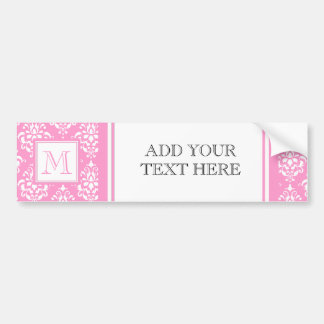 Pink Damask Pattern 1 with Monogram Car Bumper Sticker