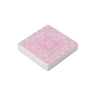 Pink Damask Pattern 1 with Monogram Stone Magnet