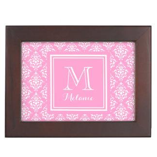 Pink Damask Pattern 1 with Monogram Keepsake Box