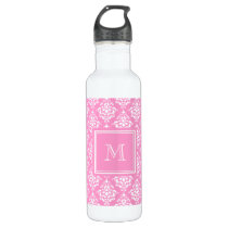 Pink Damask Pattern 1 with Monogram Stainless Steel Water Bottle