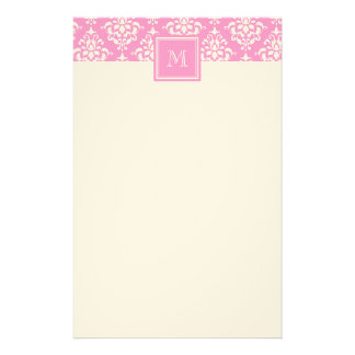 Pink Damask Pattern 1 with Monogram Stationery