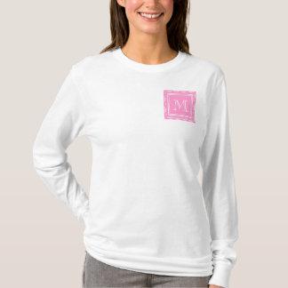 Pink Damask Pattern 1 with Monogram T-Shirt