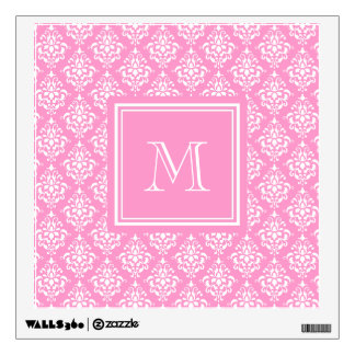 Pink Damask Pattern 1 with Monogram Wall Decal