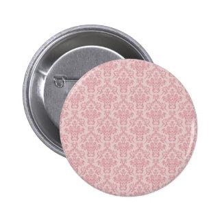 Pink Damask Pattern Button
