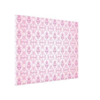 Pink Damask Pattern Stretched Canvas Print