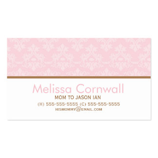 Pink Damask Pattern Mom Calling Cards Business Card