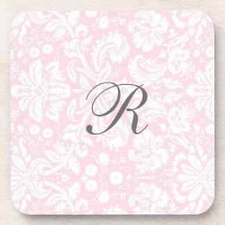Pink Damask Pattern Monogram Coaster Set