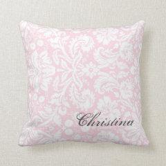 Pink Damask Pattern Monogram Pillow