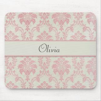 Pink Damask Pattern Mouse Pad