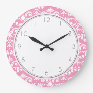 Pink Damask Pattern Pattern Large Clock