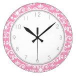 Pink Damask Pattern Pattern Wall Clocks