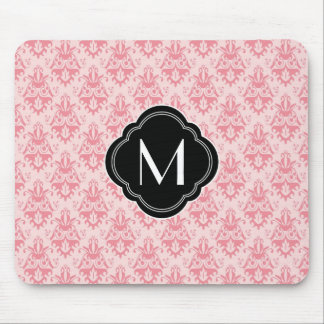 Pink Damask Pattern with Monogram Mouse Pad