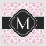 Pink Damask Pattern with Monogram Square Sticker